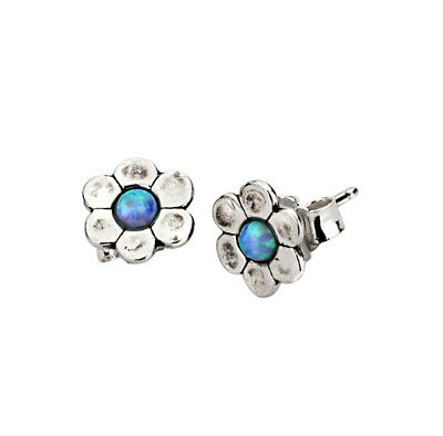 New 925 Earrings SHABLOOL Opal Blue Stud Style Sterling Silver Didae