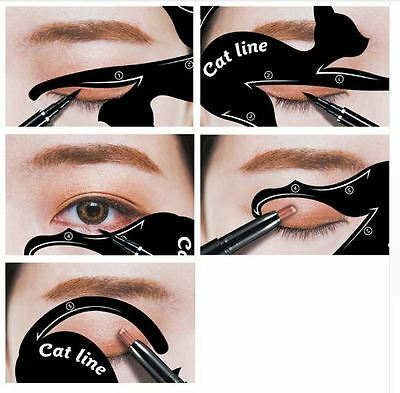 2 Pcs Eyeliner Stencil Models Template Shaper Tools Cat Eye Line Makeup Beauty