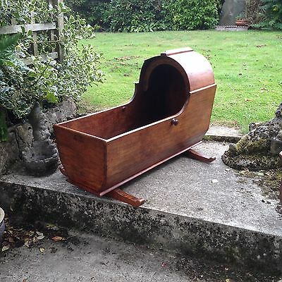 Antique 19th century wooden rocking cradle cot child's doll's teddy's bed