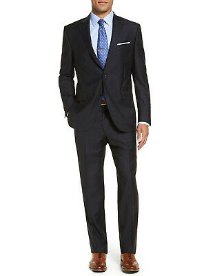 Luciano Natazzi Mens Two Butt 2 Piece Modern Fit Suit Set Faint