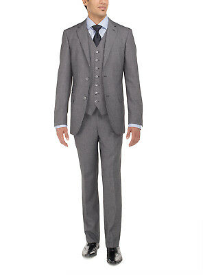 Luciano Natazzi Mens Two Button Vested Three Piece Suit Set Tweed Modern Fit