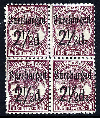SAMOA 1899 Surcharged 2½d. IN BLACK on 2/6d. Purple P11 BLOCK OF FOUR SG 87 MINT