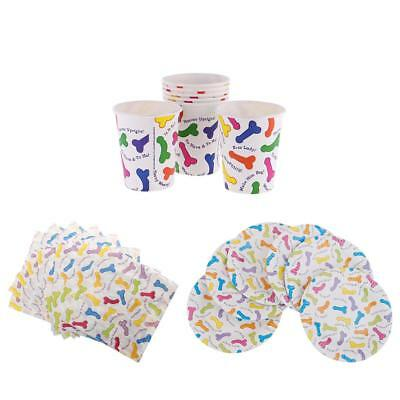 20pcs Wedding Bridal Shower Willy Dicky Printed Paper Cup Plates Napkins Set