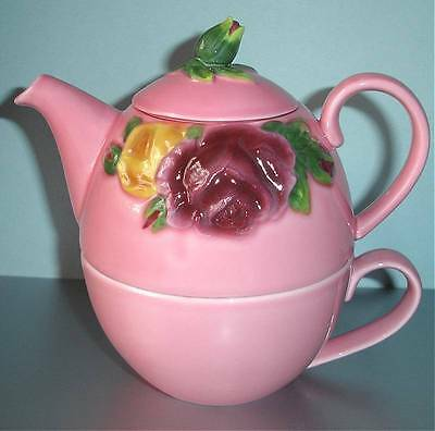 Royal Albert Country Rose Majolica TEA FOR ONE Pink Stackable Teapot & Cup New