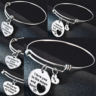 Stainless Steel Family Dad Mom Bangle Sister Heart Charms Bracelet Mother Father