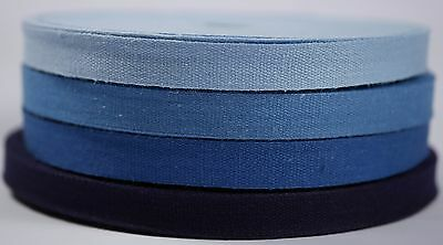 33m 10mm Light Navy Blue Cotton Plain Weave Tape Fabric Sewing Bunting Twill