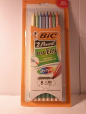 BIC 8 pk, #2 pencils stripe barrel!, #43035, ultra solid, LOW Shipping Cost!