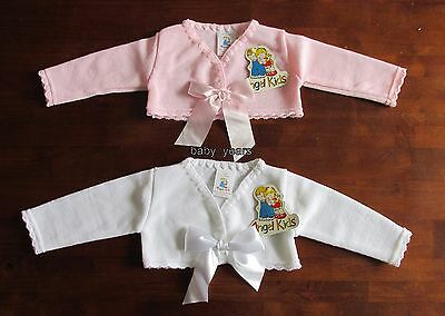 Baby Girls Knitted Bolero Shrug Cardigan White Pink Bow Christening Wedding New