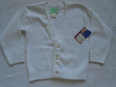 Julius Berger Kids Boy Girl Cardigan Sweater White Cotton V-Neck Sz 18m
