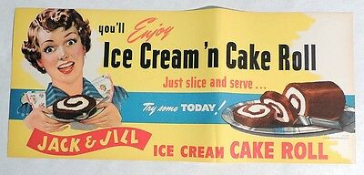 ESP2996. Vintage JACK AND JILL Ice Cream Cake Roll Advertising Paper Sign (1940)
