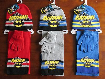 Boys Batman Hat Scarf And Glove Gloves Set Superhero Character Winter Wear