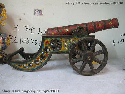 Chinese Royal Feng Shui Bronze cloisonne old-Cannon Auspicious statuary