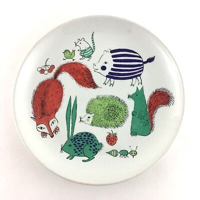 Arabia Made In Finland Child's Salad Plate Vintage Various Animals