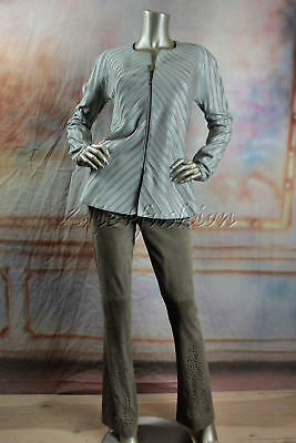 $2995 New GIORGIO ARMANI Pewter Silver Gray Pleated Jacket 46 12