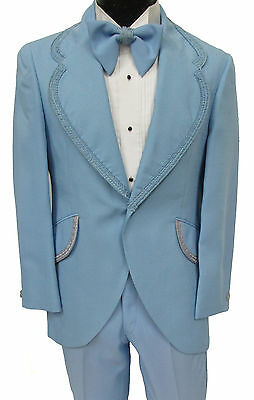 True Vintage Light Blue Tuxedo Jacket, Pants, & Bow Tie Retro 1970's Prom