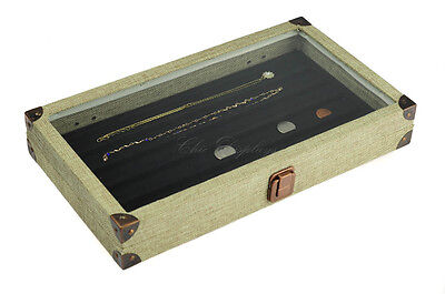 "BURLAP GLASS TOP WOODEN CASE NECKLACE JEWELRY BOX DISPLAY CASE w/06 COMP 2 1/8""H"