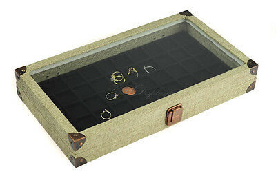 BURLAP GLASS TOP WOODEN CASE JEWELRY BOX DISPLAY CASE w/ 50 SMALL COMP LINER