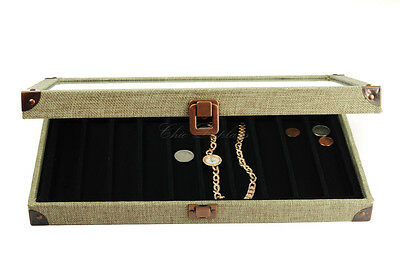 BURLAP GLASS TOP WOODEN CASE BRACELET JEWELRY BOX DISPLAY CASE w/ 10 COMP LINER