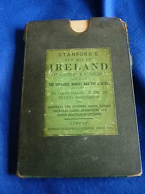 Stanford's New Map of Ireland in Counties & Baronies – Railways, Roads etc. RARE