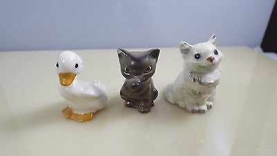 Lot Of 3 Vintage Miniature Porcelain Ceramic Animal Figurines Duck Two Cats