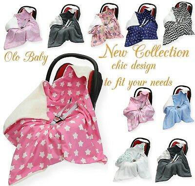 NEW COTTON & MINKY PLUSH CAR SEAT BABY BLANKET - COSYTOES To Fit Maxi Cosi Brand