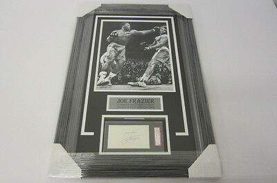 Joe Frazier Authentic Autographed Signed 3x5 Index Card Framed Matted Sgc