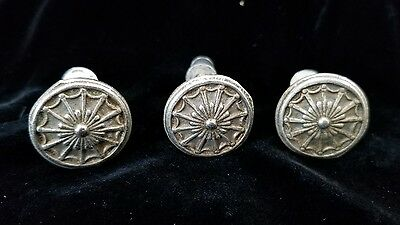 "Vintage 1"" Drawer Pull Knobs Fancy Web Design Ornate Lot Of 3"