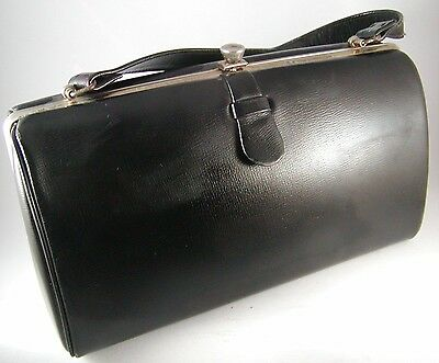 Vintage Black Leather Handbag Classic Rectangular with Satin Lining and Zip Comp