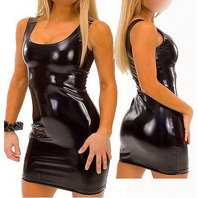 Completo Canottiera Simil Latex Lattice Vestito Nero Lucido Costume Clubwear