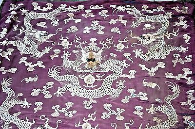 Antq Chinese Silk Embroidered Panel Textile Embroidery Tapestry Japanese Dragon
