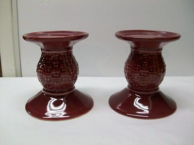 Longaberger Pottery Woven Traditions Paprika Pillar Candle Holders - 2