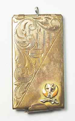 "Vintage Shriner Gold Filled Card Match Holder Fob Pendant 2-1/8"" by 1/1/8"""