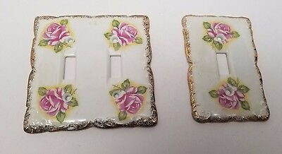 TWO Vintage Japan Pink Rose Gold Trim Light Switch / Wall Plate Double / Single