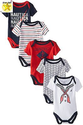 Nautica Baby Boys Newborn 5 Pack Sailor Body Suits Assorted Out Fits Clothes New