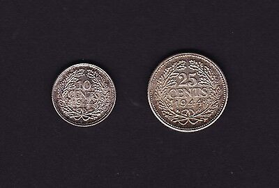 Netherlands 25 cent & 10 cent Coins 1944 Silver
