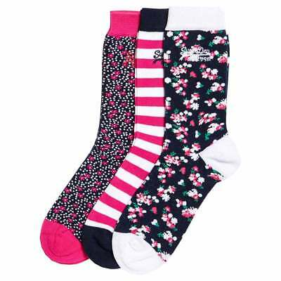 Superdry Floral Sock Triple Pack One Size White / Pink / Navy Ropa interior
