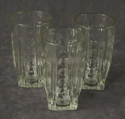 """Vintage Kitchen 3PC Lot Ray & Thumbprint Clear Juice Glass Tumblers 4"""" Tall"""