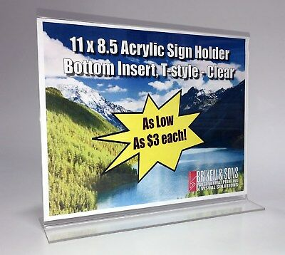 11 x 8.5 Acrylic Sign Holder, Bottom Insert, T-style - Clear / Pack of 12