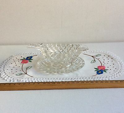 Art Deco Cut Glass or Crystal Small Sauce Jug with Base Dish & Vintage Doily LOT