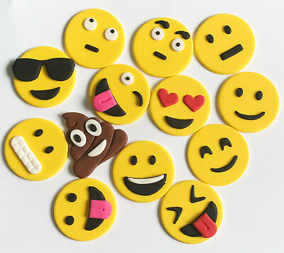 EMOJI MINI EDIBLE CUP CAKE TOPPERS - x 12 OR 24 - FUNNY!!  APPROX 4CM EACH