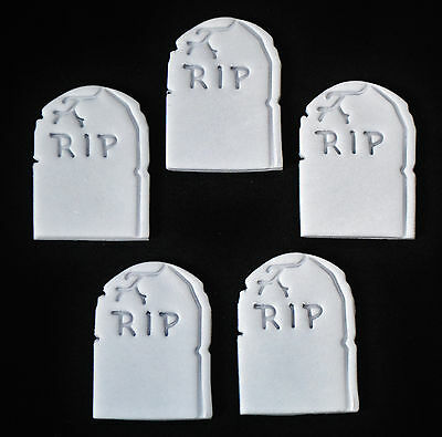 Halloween Edible Gravestone Cup Cake Toppers X 12 - 5Cm