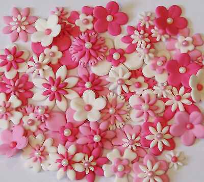 Flowers White & Pink  Edible X 25 - Mixed Sizes - Beautiful Cake Toppers!!!