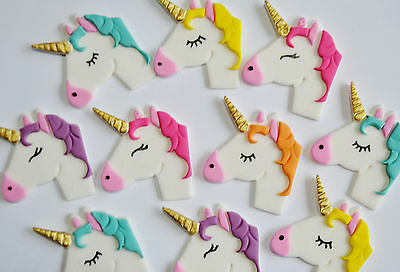 UNICORN HEAD EDIBLE CUP CAKE TOPPERS - x 6 or 12 - WITH GOLD HORN - BEAUTIFUL!!