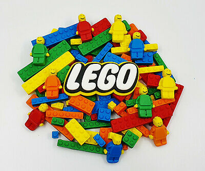 LEGO BLOCKS MEN & LOGO - EDIBLE CAKE TOPPERS - X 16 or 30 PIECES - AWESOME!!