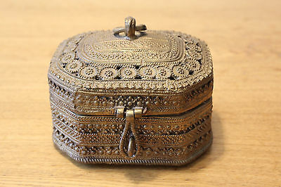 "Exotic Boho Decorative Heavy Brass Metal Jewelry Trinket Box 5 3/8"" x 4 3/8"""