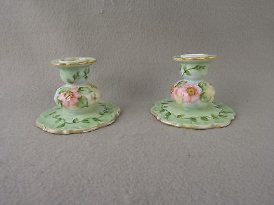 Antique Signed Candlestick holders hand painted Floral Pastels
