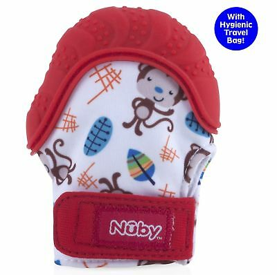 Nuby Soothing Teething Mitten with Hygienic Travel Bag Red