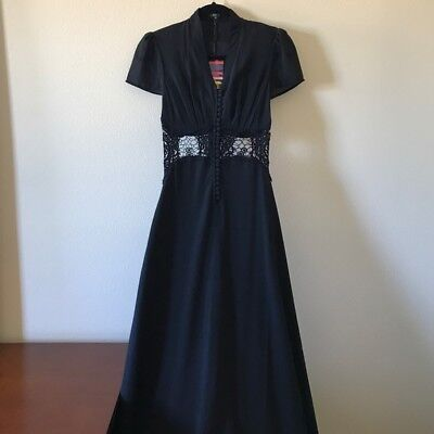 Jarlo Kelly Maxi Dress Lace Insert Cap Sleeves in Black Size 2 NEW WITH TAGS!