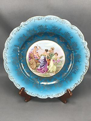 ES / RS Prussia Prov Saxe Suhl Women & Cupid Teal & Gold Dinner Plate Mark #40