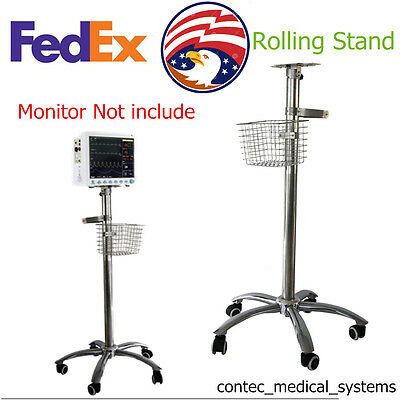 Trolley Mobile Cart Rolling Wheel Stand/ Bracket For Vital Signs Patient Monitor